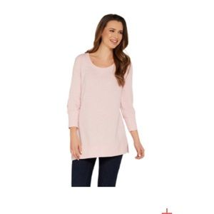 """As Is"""" H by Halston Scoop Neck French Terry Tunic"""